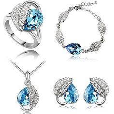 HSG Schoene Hellblau Schmuck Sets oesterreichischen Kristall Acacia Blatt-Tropfen-geformte Halskette Ohrringe Armband & Ring - http://schmuckhaus.online/hsg/hsg-schoene-hellblau-schmuck-sets-kristall-blatt-2