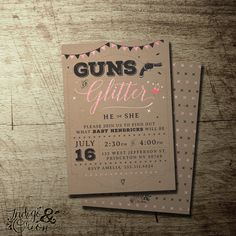 Guns or Glitter Gender Reveal invitation | gender reveal party | boy or girl | High Quality digital printable file | Free Backer available