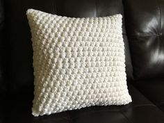 White Crocheted Bubble Pillow with Pillow Insert by ParkerAndPercy