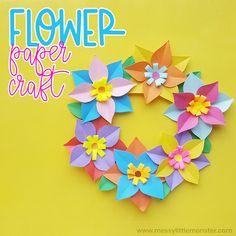 Paper Flowers For Kids, Paper Flower Wreaths, Flower Crafts, Diy Flowers, Glue Crafts, Wreath Crafts, Paper Crafts, Science Projects For Kids, Crafts For Kids