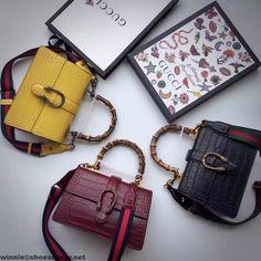 Gucci Dionysus Bamboo Croco Pattern Leather Top Handle Medium Bag 448075 2016