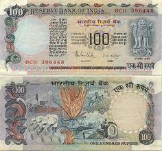 India 100 rupees Hirakud Dam across Mahanadi River
