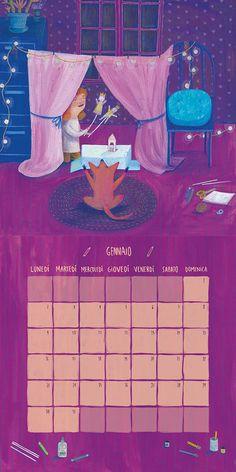 Enero. Ilustración y diseño para calendario 2017 de juguetería Cittá del sole, Italia. Témperas y lápices de colores.