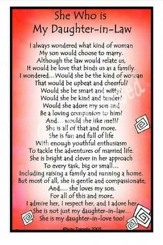 Daughter In Law Quotes, Birthday Daughter In Law, Mom In Law, Daughter In Law Gifts, Son Quotes, Mother Quotes, Girl Quotes, Sons Birthday, Future Daughter