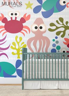 What a great look for the nursery! Welcome baby home with a bright and cheerful wall mural. #myMYWmural