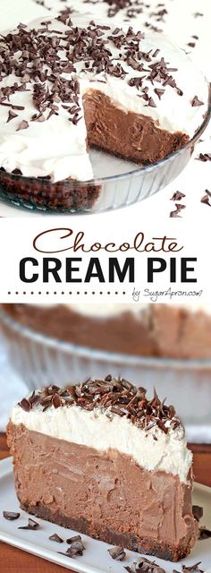 Cream Pie - Sugar Apron A chocolate graham crust, a decadent chocolate cream filling, a fresh whipped cream.A chocolate graham crust, a decadent chocolate cream filling, a fresh whipped cream. Brownie Desserts, Just Desserts, Delicious Desserts, Yummy Food, Quick Healthy Desserts, Easy No Bake Desserts, Lemon Desserts, Party Desserts, Yummy Snacks