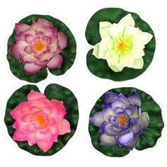 Floating Water Lily/Lotus Flower, Large (A Set of 4) by Bags-n-More. $17.99. These floating lotus flowers are made of soft, flexible durable foam plastic and have a ring on the back that allow them to be anchored with string (string not included). Float several in a small pond, pool, or any water feature. What a beautiful decor to add to your garden, patio, even interior spaces! Great for everyday use or special events, such as, weddings, garden parties, etc. Gif...