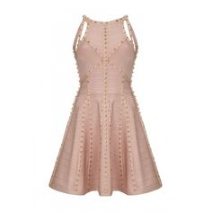Forever Unique Lacey Nude Pink Skater Dress (1.625 BRL) ❤ liked on Polyvore featuring dresses, going out dresses, night out dresses, bandage dress, pink party dress and party dresses