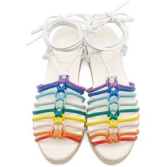 Chloé Multicolor Leather Rainbow Sandals ($474) ❤ liked on Polyvore featuring shoes, sandals, chloe sandals, ankle tie sandals, multi colored sandals, multi color sandals and braided sandals
