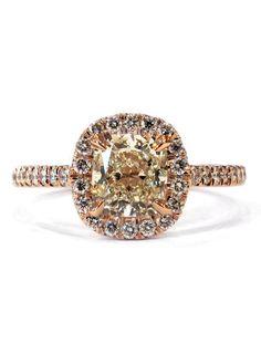 Lenore Custom Rose Gold + Platinum Diamond Halo Engagement Ring - The Perfect Halo – Dana Walden Bridal :: Engagement Ring Designers - NYC