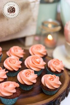 Mini Red velvet Cupcakes with peach cream