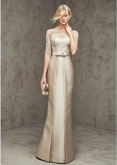 Sheath/Column Short Sleeve Bateau Long/Floor-Length Satin Prom Dress With Lace Waistband Bowknot (S10218137PRP)