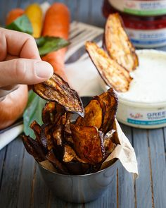 Mediterranean eggplant chips. Crispy seasoned veggie chips perfect for dipping!