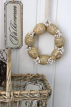 Vintage Papers Egg Wreath