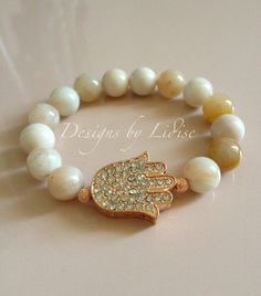 Apricot Creme Agate Gemstone Bracelet with Rose by DesignsByLidise, $24.00