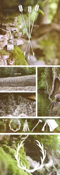 5 Hand-Drawn Forest Themed Hipster Icons  #GraphicRiver , arrows, tent, antlers and campfire!