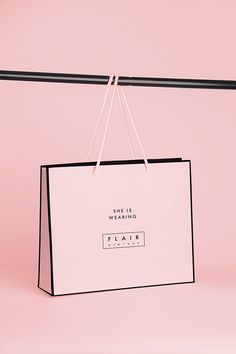 Flair by adriana jackson, via behance Clothing Packaging, Fashion Packaging, Luxury Packaging, Bag Packaging, Jewelry Packaging, Fashion Branding, Fashion Logo Design, Shoping Bag, Shopping Bag Design