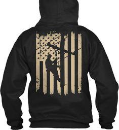 cd6bb33db Lineman Shirt Lineman Flag Black T-Shirt Back Lineman Gifts, Hoodies,  Sweatshirts,