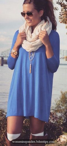 Blue tunic dress and high camel boots. Cosy fall look 2015....CHECK OUT THE BEST SALE EVER>>ADDTL 50% OFF SALE ITEMS!!! enjoy my collection of hot girls in tight clothes,spandex,lycra,tight shorts...