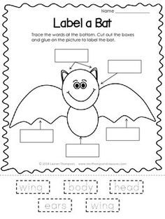 Free - Bat - Halloween - Fun - Activity Your students will love labeling the parts of this bat cutie! They will trace the words, cut them out, the. Science Halloween, Halloween Activities, Autumn Activities, Halloween Fun, Bat Activities For Kids, Kindergarten Activities, Classroom Activities, Classroom Freebies, Kindergarten Homework