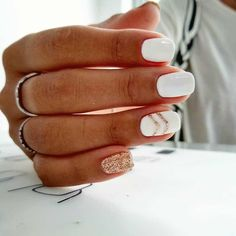 36 Awesome Holiday Nail Art Design Ideas Best For Winter Season - Originator nails can truly make you look chic and chic. Nail art is one approach to make your nails look great and it gives you a chance to explore di. Cute Acrylic Nails, Acrylic Nail Designs, Nail Art Designs, Nails Design, White Nail Designs, Cute Simple Nail Designs, Short Nail Designs, Gel Nail Designs, Gorgeous Nails