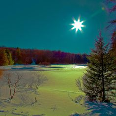 Sun on the Frozen Moose River, Old Forge, NY