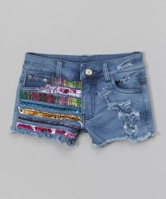 Another great find on #zulily! Blue Rainbow Ribbon Denim Shorts by Penelope Wildberry #zulilyfinds