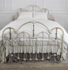 Queen Size Vintage Iron Bed from Full Bloom Cottage