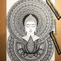 Calm and Serenity in Balanced Pen Drawings Buddha Drawing, Buddha Painting, Doodle Art Drawing, Mandala Drawing, Art Drawings, Dotted Drawings, Mandala Art Lesson, Mandala Artwork, Mandala Painting