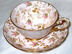 Vintage Tuscan Cup and Saucer Du Barry Rose Chintz Pink Teacup England 8606H