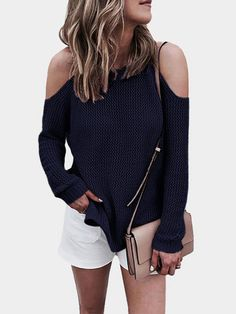 Navy Cold shoulder Long Sleeves Knitwear with Side Splited
