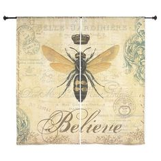 modern vintage French queen bee Curtains on CafePress.com