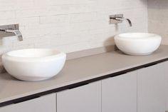 """Quartzforms """"Breeze Sand"""" bathroom countertop"""