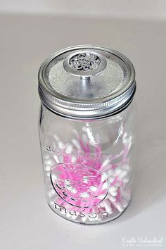 Mason Jar Storage Containers with Silver Leaf Knobs http://www.craftsunleashed.com/organization-home/mason-jar-diy-storage/