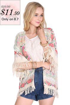 bccc3b10ea ROMWE Tassels Floral Print Loose Kimono Latest Street Fashion