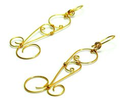 Brass earrings Wire wrapped earrings metal earrings by SuspirobyAF, €11.20 (c)by Andrea