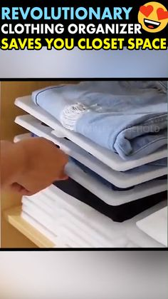 Save space and stop digging through your closet drawers to find a single t-shirt Stackable Clothing Organizers separate your clothes making them easy to find while leaving behind other pieces uncreased and properly folded. Say Goodbye To Messy Closets! Diy Organisation, Closet Organization, Clothing Organization, Organizing, Closet Drawers, Home Gadgets, Cool Inventions, Useful Life Hacks, Diy Home Crafts