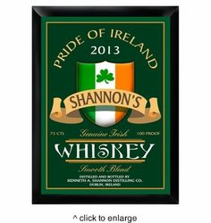Proudly fly the colors of Ireland in your mancave or home bar with these personalized Irish pub signs. These incredible designs shout Emerald Isle pride loud and clear! You can personalized these sign