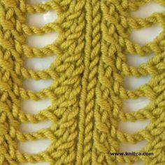 Right side of knitting stitch pattern – Lace 9