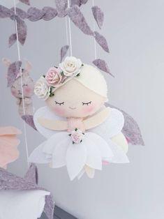 Items similar to Fairy Baby Mobile - Flower Mobile - Cot mobile- Crib Mobile - Woodland Mobile - Forest Mobile on Etsy Baby Mobile Felt, Felt Baby, Felt Animal Patterns, Stuffed Animal Patterns, Felt Crafts Diy, Baby Crafts, Flower Mobile, Baby Fairy, Felt Dolls