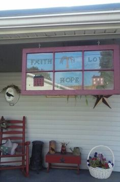 Painted frame and painted pictures on glass panes.