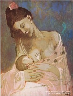 Maternity by Pablo Picasso art print. I only piece of art by Picasso I truly like. Pablo Picasso, Kunst Picasso, Art Picasso, Picasso Paintings, Oil Paintings, Painting Art, Picasso Guernica, Baby Painting, Indian Paintings