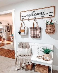 Raise your hand if this is the entryway you want to come home to everyday! 🙋‍♀️ 📷: Distressed Ivory Pew Bench: item no. 158954 White and Black Welcome Wall Hooks: item no. Pew Bench, Bench Decor, Wall Decor, Bench Seat, My Living Room, Living Room Decor, Kirkland Home Decor, Entryway Wall, Entryway With Bench