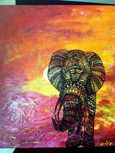 African sunset patterned henna elephant