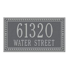Whitehall Products Egg and Dart Rectangular Pewter/Silver Standard Wall Two Line Address Plaque-6132PS - The Home Depot