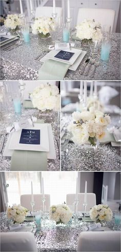 Inspiration for our wedding - sparkly silver table linens, sparkly wedding decor, sparkly wedding reception ideas, sparkly wedding ideas Mod Wedding, Blue Wedding, Trendy Wedding, Dream Wedding, Sparkle Wedding, Wedding Flowers, Unique Weddings, Silver Weddings, Romantic Flowers