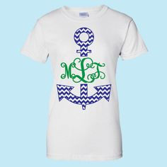 Custom Chevron Anchor with Monogram Ladies Cut Tshirt – Polkabean