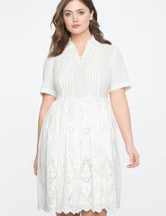 Eyelet Fit and Flare Dress | Women's Plus Size Dresses | ELOQUII