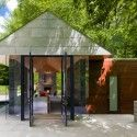 love this structure - three stone walls seem to support what may be a zinc roof - the remaining walls are glass and the structure becomes more of an outdoor place than an indoor space Nevis Pool and Garden Pavilion / Robert M. Gurney, FAIA Architect
