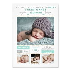Precious Arrival Photo Birth Announcement! Make your own invites more personal to celebrate the arrival of a new baby. Just add your photos and words to this great design.